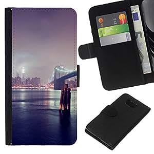 // PHONE CASE GIFT // Moda Estuche Funda de Cuero Billetera Tarjeta de crédito dinero bolsa Cubierta de proteccion Caso Samsung ALPHA G850 / New York Bridge /