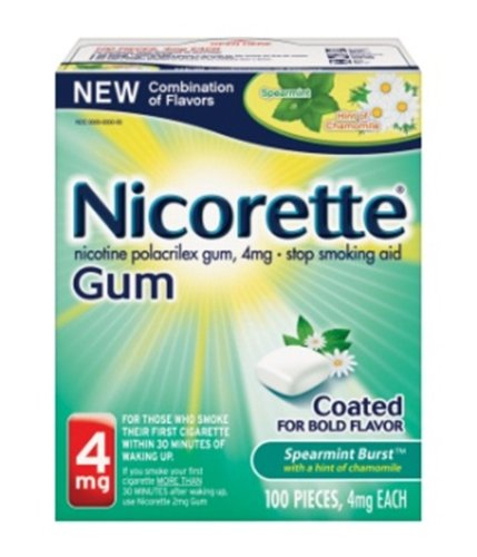 Nicorette Gum Stop Smoking Aid, Spearmint, 100 Count