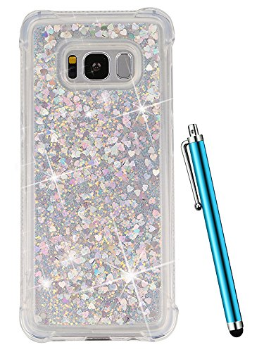 CAIYUNL Glitter Liquid Bling Sparkle Quicksand Floating Clear Slim Cute Cover Soft Bumper Women Men Kid Drop Protection Luxury Shockproof Protective Phone Case for Samsung Galaxy S8 Plus&Stylus-Sliver