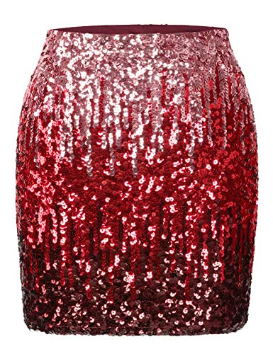 - MANER Women's Sequin Skirt Sparkle Stretchy Bodycon Mini Skirts Night Out Party (XL/US 16-18, Canyon Rose/Burgundy/Ruby Red)