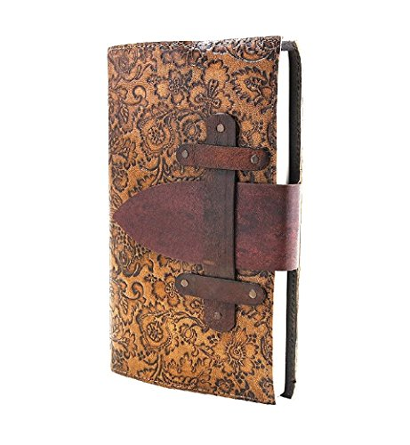 Handmade Leather Bound Journal Diary Notebook Hand Embossed For Men with Floral Hardbound Cover & 72 Sheets 144 Unlined Eco-friendly Pages (9X5) (Father's Day Preschool Crafts)