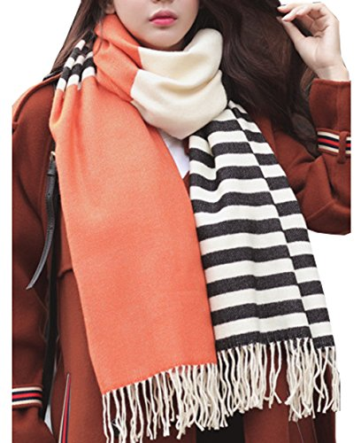 Womens Cashmere Feel Fringe Blanket Striped Scarf Pashmina Shawls And Wraps