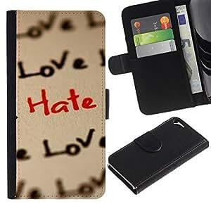 All Phone Most Case / Oferta Especial Cáscara Funda de cuero Monedero Cubierta de proteccion Caso / Wallet Case for Apple Iphone 5 / 5S // Love Hate Pattern