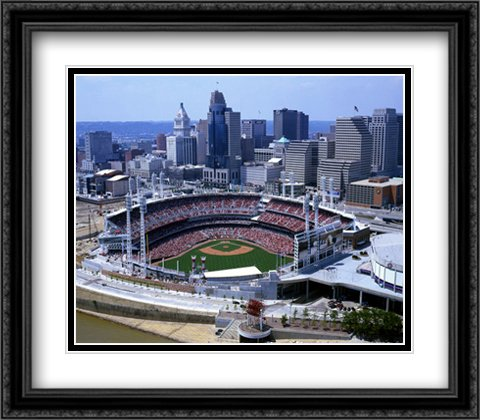 Great American Ballpark 2x Matted 28x28 Large Black Ornate Framed Art Print from the Stadium Series