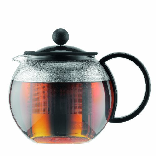 Bodum Assam - Tea Press - Black Lid & Handle, Stainless Steel Filter - 0.5l, 17oz