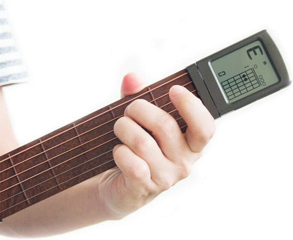 ⭐⭐⭐⭐⭐Entrenador de Guitarra,Herramienta de práctica portátil de bolsillo Ultimate Digital Handy Guitar Trainer Portátil Guitar Práctica Acorde Trainer Muñeca Dedo Ejercitador Equipo Entrenamiento