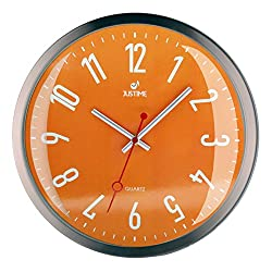 JUSTIME 12-inch Modern Simply Metal Brushed Nickel Wall Clock, Sweep Movement, Convex Glass Lens, Home Decor (WM12-ORG-WA)