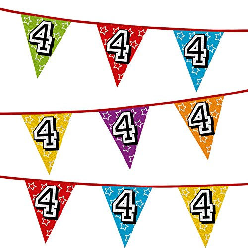 26ft Number 4 Multi Colour Penant Banner Bunting Birthday Party Anniversary