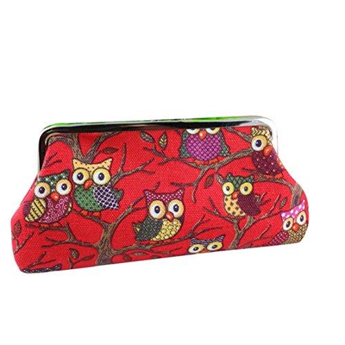 Owl Purse Mini Cute Clutch Tongshi Bag Canvas Red Women's z0wSxnnqE