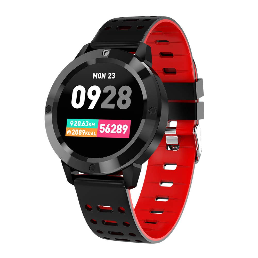 Smart Watch Compatible iOS Android Phones, Color Screen Fitness Tracker for Men Women with Heart Rate Blood Pressure Calories Pedometer Sleep Monitor for Apple Samsung Smartphones Gift by elecfan,Red