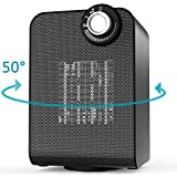 OPOLAR HE02 Electric Small Space Thermostat & Oscillating, 1500/1000W Energy Efficient Personal Portable Ceramic Heater, Compact & Quiet for Indoor Home Office Floor, Black