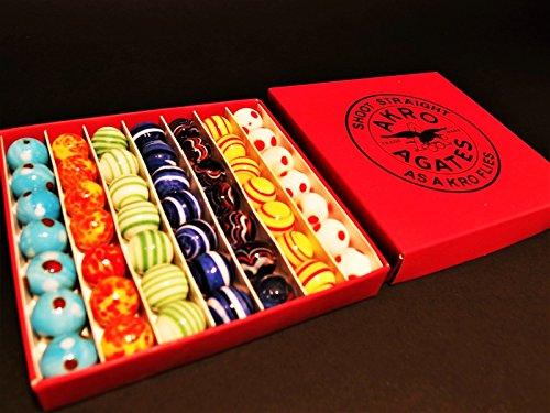 Rare Item Antique Vintage Style Akro Agates Marble set w Box 49 5/8