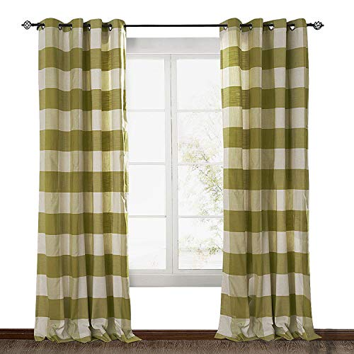 Green Plaid Curtains (ChadMade Eco-Friendly Premium Country Classic Check Plaid Cotton Nickel Grommet Eyelet Window Curtain Panel Drapes (1 Panel) Green 50Wx63L Inch)