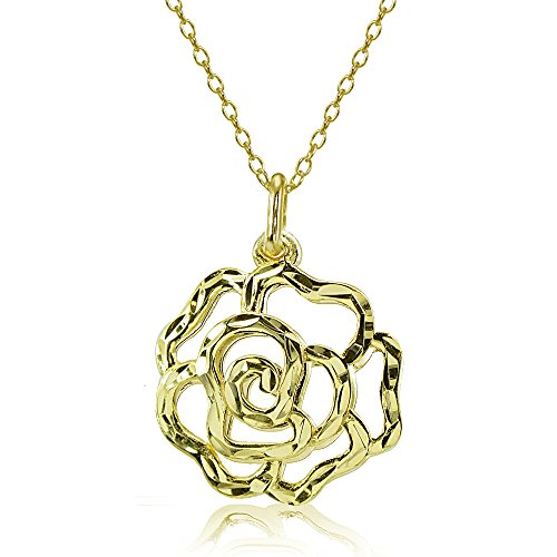 Yellow Gold Flashed Sterling Silver High Polished Diamond-cut Filigree Rose Flower Pendant Necklace
