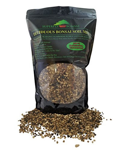 Deciduous Bonsai Soil Mix - Professional Sifted and Ready To Use Tree Potting Blend In Easy Zip Bag - Akadama, Black Lava, Pumice & Charcoal and Haydite Added