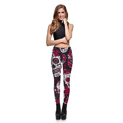 Iumer Women's Yoga Pants Skull Print Leggings Sports Yoga Pants Plus Size Casual Wear Pants Red