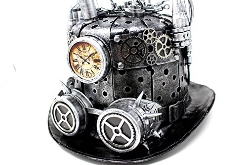 Gothic Steampunk Top Hat With Steampunk Goggles With Spikes and Steampunk Gears Velvet 6.2