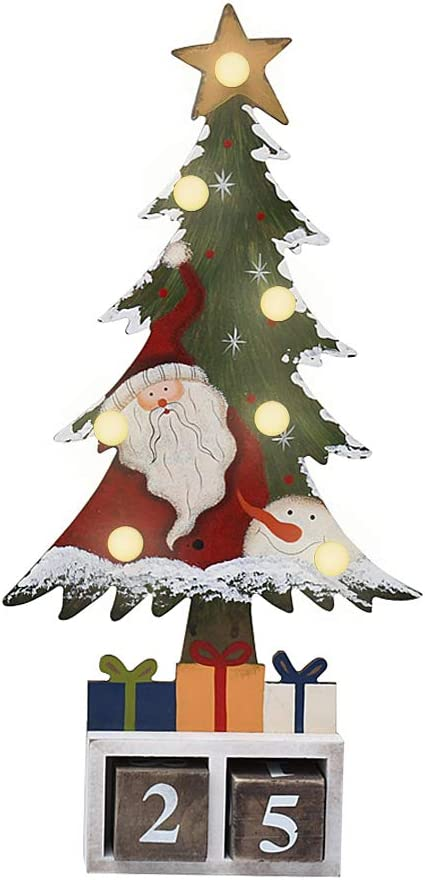 Kilipes Tabletop Christmas Tree with LED Lights Santa Decor Xmas Countdown Calendar Wooden Xmas Tree Table Top for Winter Holiday Christmas Decoration (Red Santa)