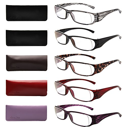 LianSan 5 Pairs Brand Designer Vintage Lightweight Men Women Reading Glasses Xl216(multicolor22.50)