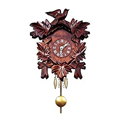 Alexander Taron Importer Battery Operated Black Forest Carved Clock with Flowers