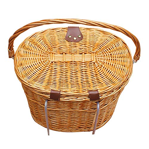 Front Handle Bar Bike Basket Adults,Outdoor Water Resistant Bicycle Basket Hand Woven Rattan Wicker Bike Basket with Handle and Lids