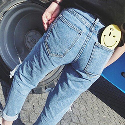 Pantalones Flacos Alta ZhuiKun Rotos Skinny Como Cintura Mujer Jeans Vaqueros Imagen Hxa66f1