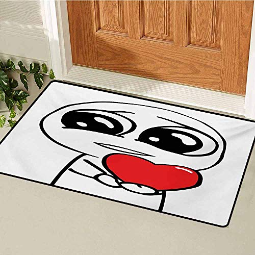 GUUVOR Humor Welcome Door mat Cute Lover Guy Meme Face with a Heart Romance Forever Spouse Valentines Image Door mat is odorless and Durable W47.2 x L60 Inch Red and White]()