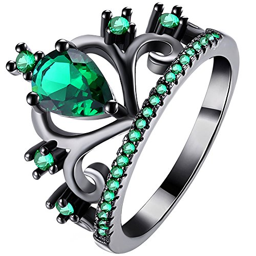 LWLH Womens Black Gold Plated Green Emerald Cubic Zirconia CZ Princess Crown Tiara Ring Wedding Band Szie 7