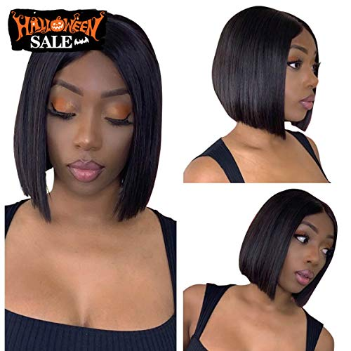 Cheap Wigs Online (Beauty On Line Short Bob Wigs Brazilian Straight Lace Front Human Hair Wigs For Black Women Pre Pucked Natural Hairline Natural Color (10 inch, Bob)