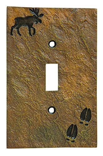 Light Moose Cover Switch (Big Sky Carvers 30170442 Moose and Tracks Single Switch Plate)