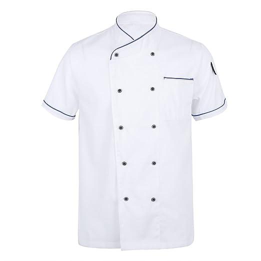 Homyl Unisex Topstitched Chef Jacket Coat Single Breasted Short Sleeves Shirt Kitchen Uniform