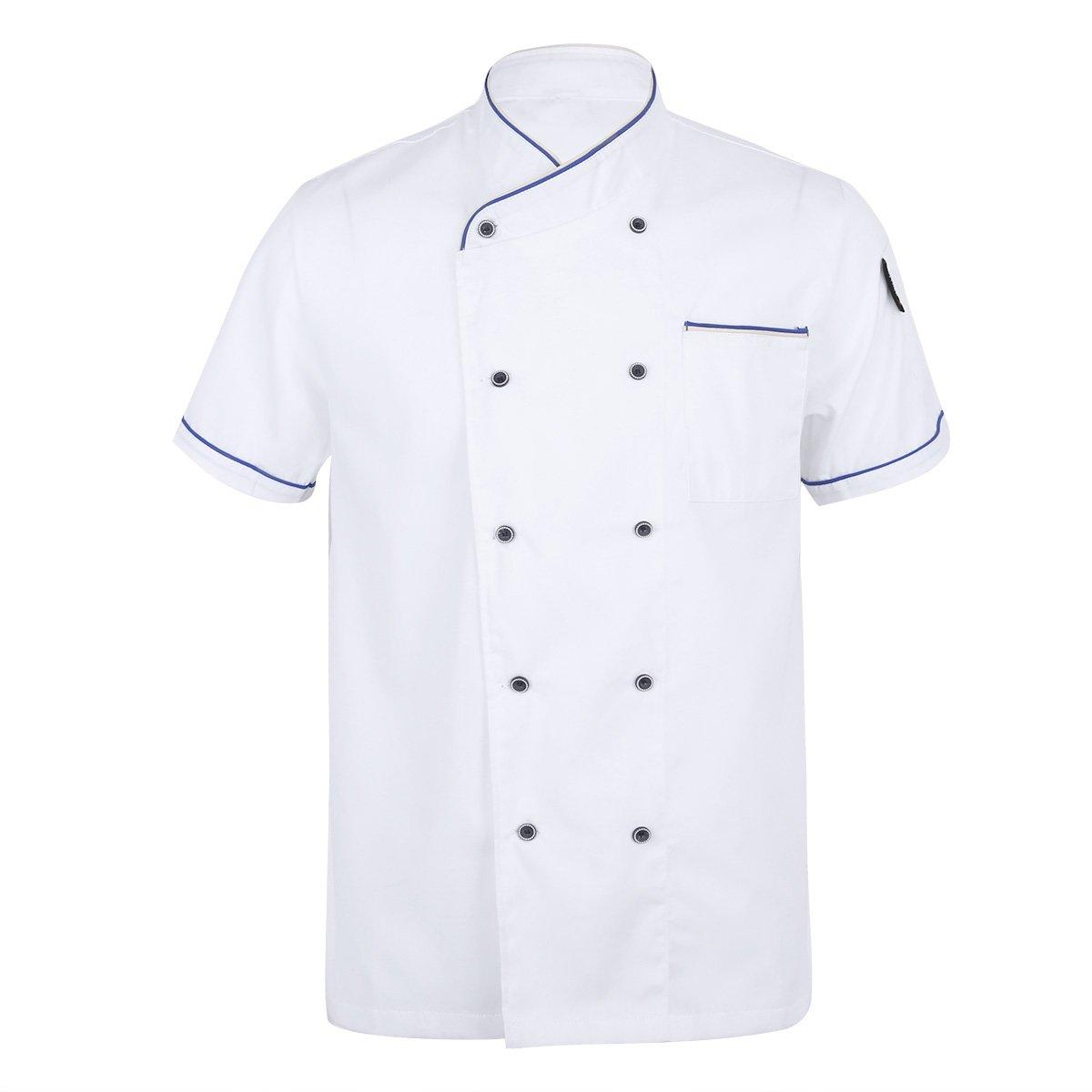 CHICTRY Short Sleeve Chef Coat Jacket Cooker Uniform