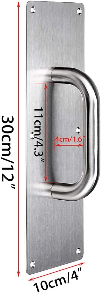 Heavy Duty Gate Handle Bar for Home//Office//Warehouse//Public//Commercial Places Sumnacon 2 Set 12 Stainess Steel Door Handle Pull /& Push Plate Brushed Suitable of Wooden//Composite Door with Screws
