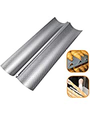 French Bread Baking Pan Non-stick Perforated Baguette Pan French Bread Pan Bakeware Mould Kitchen Appliance Parts (Silver)