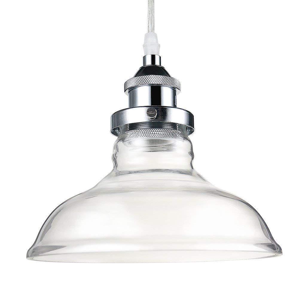 Decoroom Glass Pendant Light Industrial Retro Ceiling Hanging Lamp Vintage Lamp Shade for Coffee Bar Restaurant Chrome