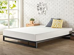 This heavy duty, sturdy mattress foundation is designed for strength and style. Perfect for higher profile mattresses or those preferring a modern style. The extra strength steel framed mattress foundation by Zinus features wooden slats that ...