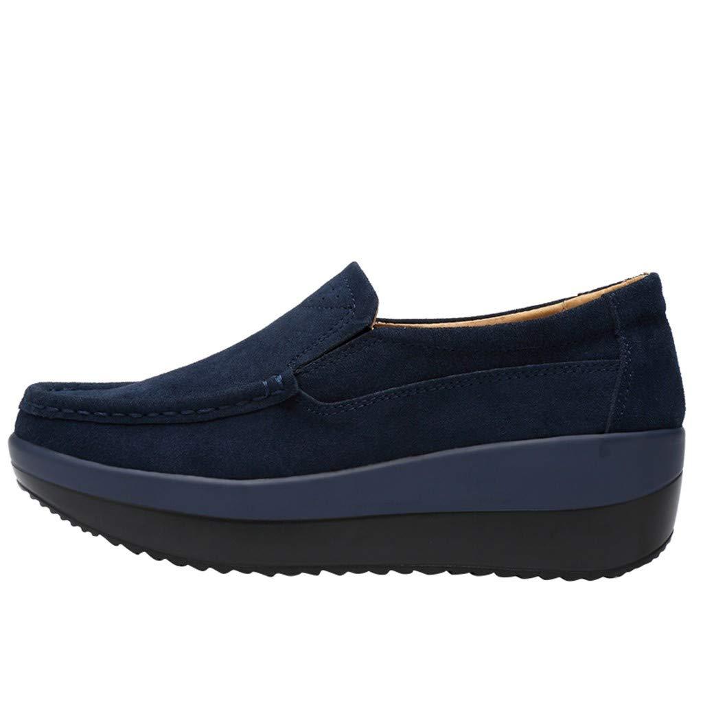 Women Casual Fashion Platform Loafers Walking Slip-On Platform Shoes, Blue, 8 M US by OcEaN Shoes