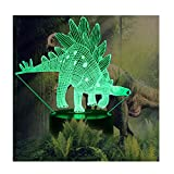 Night Lights for Kids Dinosaur 3D Illusion Lamp Birthday Gift for Boys Animal Light Led Desk Lamp Unique Home Decor Office Bedroom Party Supply Decoration Nursery 7 Color Children Stegosaurus Children