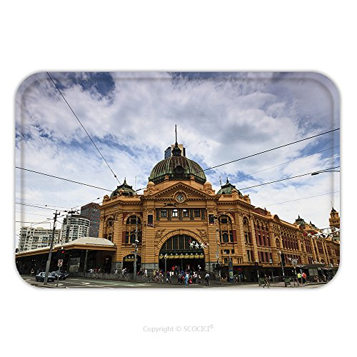 Indian Costume Melbourne (Flannel Microfiber Non-slip Rubber Backing Soft Absorbent Doormat Mat Rug Carpet Melbourne City Historic Building Flinders Station Railway Victoria Colonial Style Yellow Bricks 95452405 for Indoor/Out)