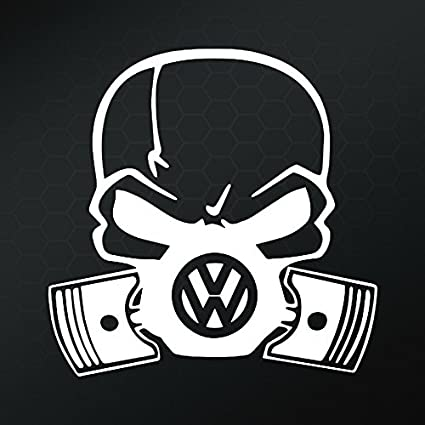 VW Skull Piston Gas Mask Vinyl Decal Sticker | Cars Trucks Vans Walls Laptops Cups |