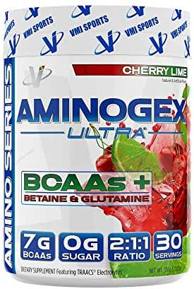 VMI Sports, Aminogex Ultra BCAA Powder, Cherry Lime, 30 Servings, Branched Chain Amino Acids Powder for Endurance & Muscle Recovery, Pre- or Post-Workout Supplement (Packaging May Vary)