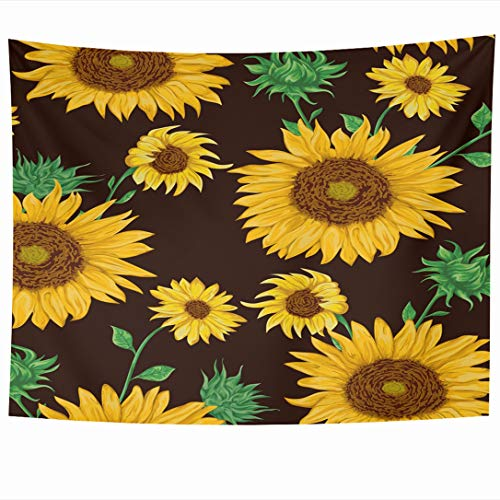 (Ahawoso Tapestry 90 x 60 Inches Food Watercolor Flower Pattern Sunflowers On Black Flora Nature Vintage Sun Harvest Farm Leaf Grain Wall Hanging Home Decor Tapestries for Living Room Bedroom Dorm)