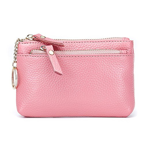 d81b2f9f5850 Aladin Leather Coin Purse with Key Chain - Triple Zipper Card Holder Wallet