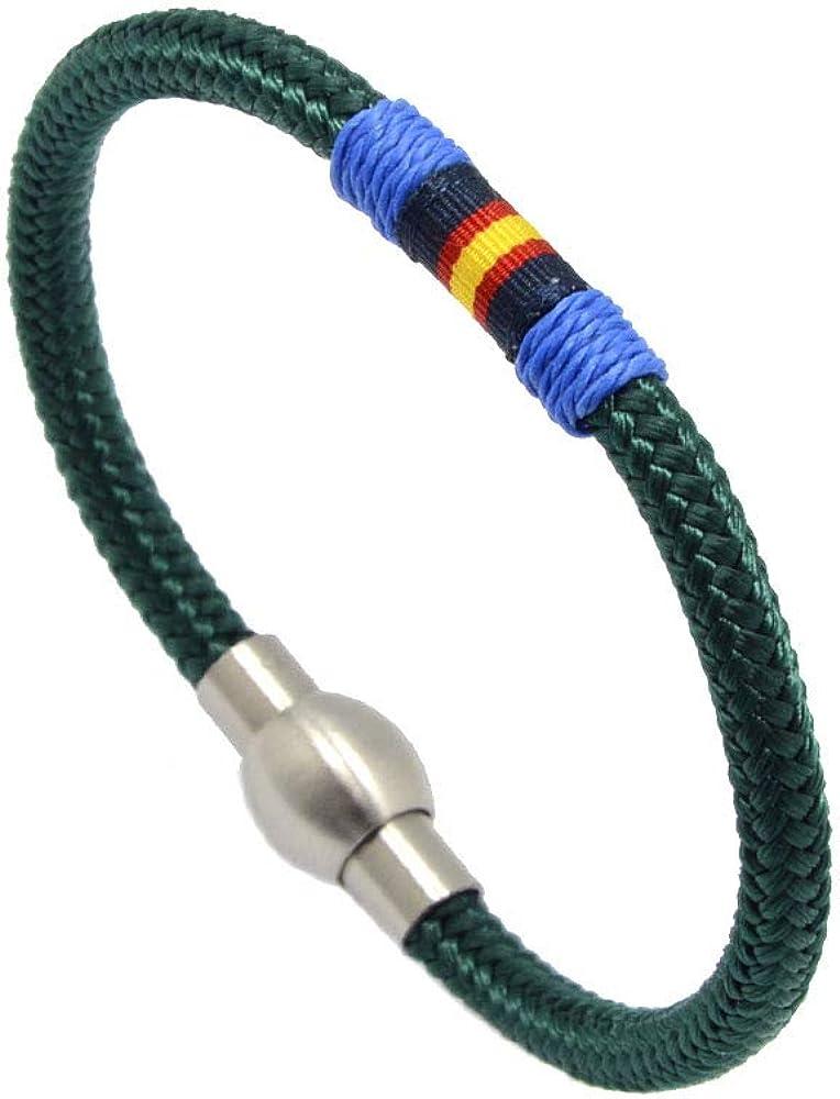 Hispania Colors Pulsera- Fortune Simple Verde, España, cordón Náutico con Cierre de Acero Inoxidable.