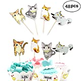 Cute Cat Cake Cupcake Toppers Picks for Baby Shower, Birthday Party, Wedding Decorations, or Food Picks Decor Cupcake Party Pick (48-Pack)