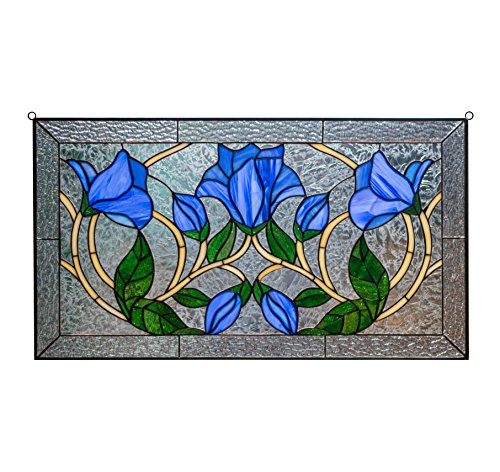 tshayes - Tiffany Style Leaded Stained Glass Leaded Window Panel Blue Flowers ()