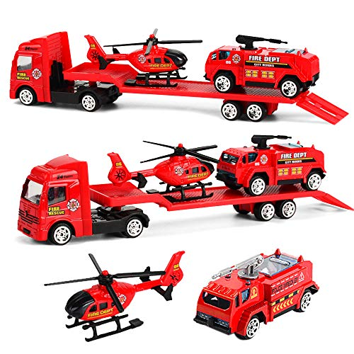 Minyn Truck Toy Set with Flatbed Trailer Helicopter Fire Truck Die-cast Metal Vehicles Airplane Firefighting Engine Emergency Rescue Toy Car Playset for Kids Boys Child
