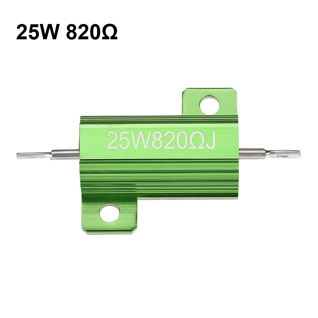 sourcing map 25W 0.1 Ohm 5/% Aluminum Housing Resistor Screw Tap Chassis Mounted Aluminum Case Wirewound Resistor Load Resistors Green 2 pcs