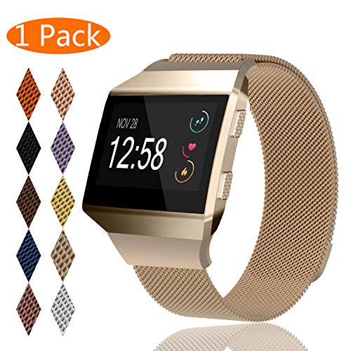 KingAcc Compatible Fitbit Ionic Bands, Milanese Stainless Steel Mesh Metal Replacement Band for Fitbit Ionic, Magnetic Clasp Lock Wristband Strap Women Men (1-Pack, Champagne, Small)
