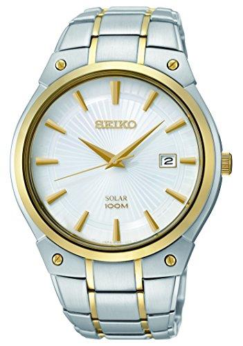 Seiko Men's SNE324 Dress Solar Analog Display Japanese Quartz Two Tone Watch ()